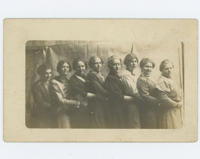 Vintage Snapshot Photo RPPC: Line of Women, c1910s (611519)