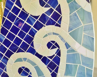 Surfboard Mosaic Coastal Wave Surfboard,  Beach House Art, Stained glass on wood, 5ft, Beach Wave art, Made to Order