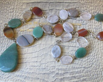 Vintage Wrap Set Agate Quartz Stone Chain Link Necklace, Gorgeous Colors, Earth-tones, Boho Gypsy Gemstone Jewelry. Gold Fill GF Wire Wrap