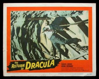 The RETURN OF DRACULA original 1958 lobby card horror movie poster