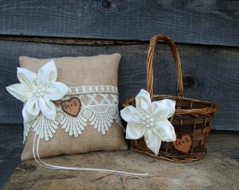 Flower Girl Basket and Ring Bear Pillow - Rustic Wedding Basket and Pillow - Burlap and Lace Wedding Set - Barn Wedding - Farm Wedding
