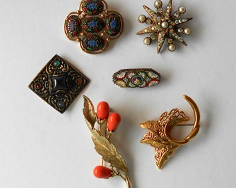 Vintage Jewelry Lot Wearable Brooches Craft Destash Sarah Cov Boucher