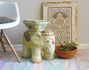 Vintage Ceramic Elephant Table Plant Stand