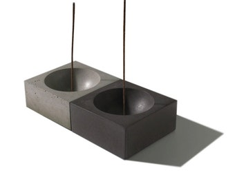 Summer Sale! New LARGE Cubed3 / Concrete Square Incense Burner/ Incense holder/ Minimalist Home Decor