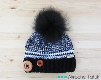 Rustik hat. Black and white woman crochet winter hat with buttons and fur pompom by Akroche Tatuk (made to order)