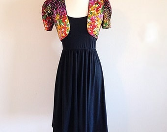 Vintage Bright and Colorful Bolero Shrug Cropped Jacket