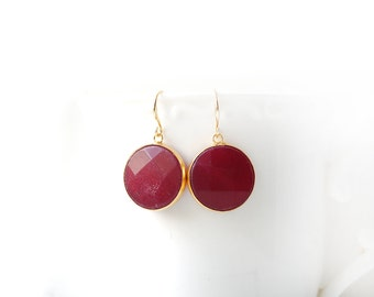 Polished Gold Plated Cherry Red Jade Round Earrings