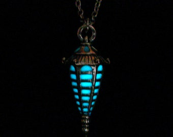 Lantern Necklace Glow In The Dark Pendant Jewelry Antique Silver (glows aqua blue)