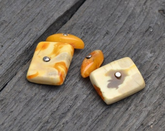 Old Vintage Amber Cufflinks for Man - Authentic Baltic Amber