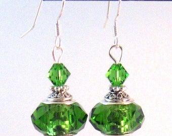 Green Swarovski Crystal Earrings, Moroccan Inspired Jewelry, Swarovski Jewelry, Green Jewelry, Spring, Christmas, Large Green Crystals