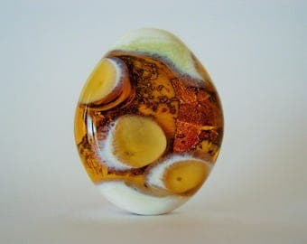 Focal Lampwork Bead ~ Gold, Topaz and Beige Tabular Bead ~ Silver Foil Band