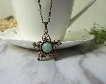 Fashion Flower Green Jade Brass Pendant Necklace 0299