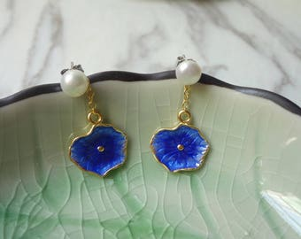 Burn blue han edition fashionable cloisonne with pearl earnail to prevent allergic bride earrings 0320-1
