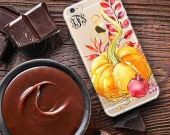 Fall Iphone 6s Plus case, Clear autumn Iphone 5s case, Orange and maroon, Monogram Iphone SE case, Gift for her, Pumpkin decor  (1700)