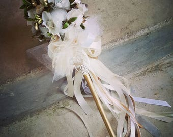 ONE Flower Girl Tutu Pom Wand Cotton Boll Winter Ivory and Greens