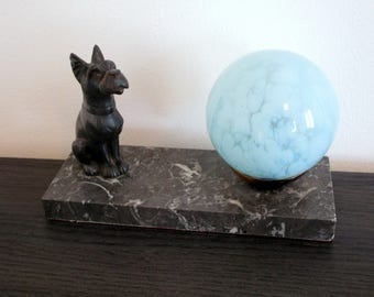French Art Deco Dog Lamp - Terrier Lamp - Table Lamp on Marble 1940 - Rare Design - Art Deco Table Lamp - Vintage Lamp-Great Condition