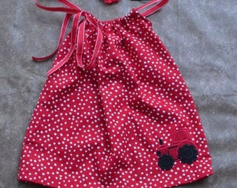 Pillow Case Dress- Red Tractor- Summer Dress - Sun Dress- Headband- Birthday Outfit-Baby Girl - Toddler Girl- Baby Fashion