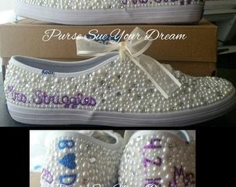 Bridal Custom Shoes - Swarovski Crystal Wedding Shoes - Pearl and Rhinestone Custom Ked's Shoes - Bride Shoes