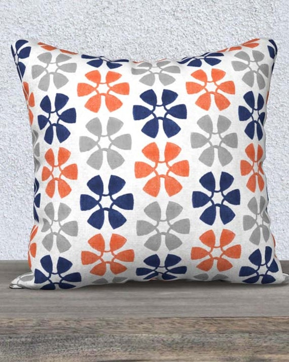Orange and Navy Children's Pillow