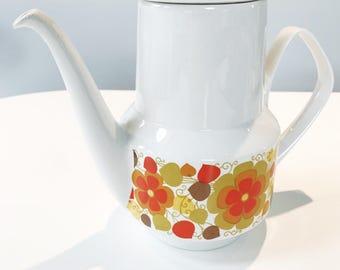 Vintage 60s Pontesa Ironstine Coffee or Tea Pot with Orange Floral Design