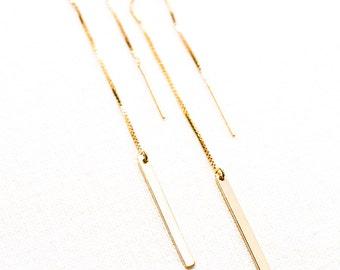Ke'alohi threader earrings - Gold Ear Thread Earrings, Ear Threader Earrings, Gold Bar Earrings, Gold Earring, Gold Bar, Gold Dangle Earring