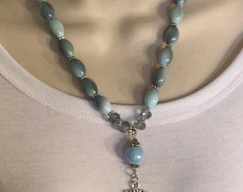 Blue Rose Cameo Necklace