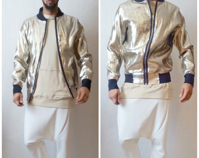 Silver Added Bomber Jacket Metallic Gold Lame Supreme Dope Justin Bieber kid Cudi Lightweight