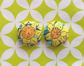 Daffodil Earrings / Fabric Covered Buttons / Wholesale Jewellry / Handmade Earrings / Bridesmaid Gifts / Small Studs / Yellow Floral / Bulk