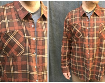 Vintage Haband Dark Brown Plaid Flannel Shirt // Men's Size 4XL Big and Tall