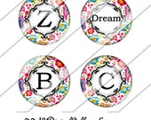 Floral Damask Digital Collage Sheet, One Inch Circles, Instant Download, Damask, Image, Colorful, Black, White, Inchies, Bottle Cap Images