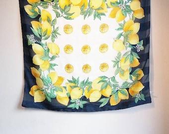 Lemon Print Scarf Pattern Vintage Fruit Blue Retro Ladies Wrap Chiffon Sheer Lightweight Lemon Spring Summer Fruit