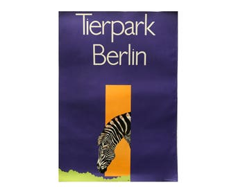 SALE 10% OFF Original Vintage Zoo Poster. Berlin. Germany. Tierpark. Zebra. Advertising Poster. 2017-049
