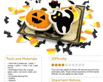 Felt Halloween Cookie Sewing Pattern, Plush Toy Pattern, PDF Digital Download Pattern, Black Cat, Bat, Pumpkin, Candy Corn and Ghost Cookie