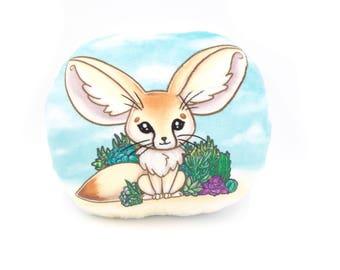 Fennec Fox Pillow Plushie, Stuffed Fox, Plush Toy, Fox Pillow, Decorative Pillow, Original Artwork