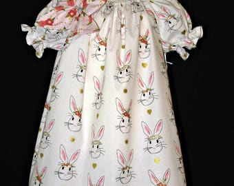 Bunny dress size 2 peasant style ready to ship MADE in the USA