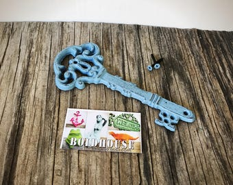 BOLD slate grey blue ORNATE skeleton KEY wall decor // hand painted cast iron // wall art // victorian cottage chic