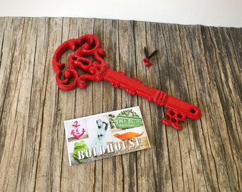 BOLD shabby cherry apple red ORNATE skeleton KEY wall decor // hand painted cast iron // wall art // victorian cottage chic