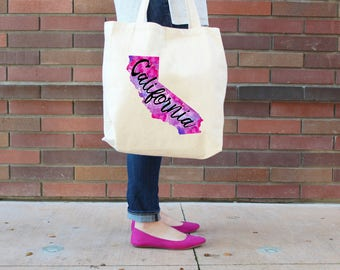 California Tote Bag, Reusable Shopper Bag, Farmers Market Bag, Cotton Tote, Shopping Bag, Eco Tote Bag, Reusable Grocery Bag, Printed in USA