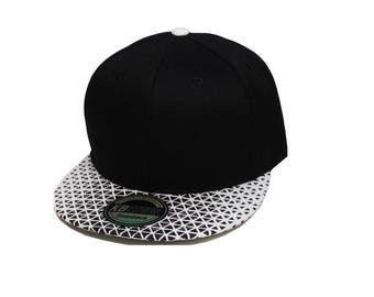 Custom Embroidery Black and White GEometric Digital Print KB ETHOS Hat Flat Bill Snap Back