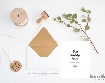 Funny Christian Valentine Day Card - Christian Valentine Card - Printable - Blank Inside