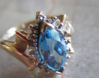 SALE Vintage 10K Marquise Blue Topaz Diamond SIZE 7 Ring, Gift For Her, Birthstone, Anniversary, Holiday Ring, Genuine 10K Gold Ring