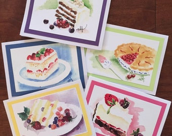 Watercolor, birthday, anniversary, congratulations, Mothers Day, Valentine, celebration, dessert, sweets notecards