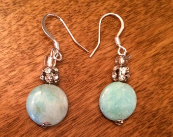 Amazonite earrings, Amazonite jewelry, Amazonite Dangle earrings, drop earrings, aqua earrings, Rhinestone and Amazonite earrings