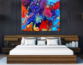 Oversize Art Print | Abstract Painting on a Huge Canvas Print | Extra Large Wall Art | Colorful Artwork | 6  x 6 Ft Wide | Giclee Print
