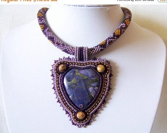15% SALE Bead Embroidery Statement Beadwork Pendant Necklace with Purple Sea Sediment Jasper and  Pyrite- PURPLE TREASURES - statement neckl