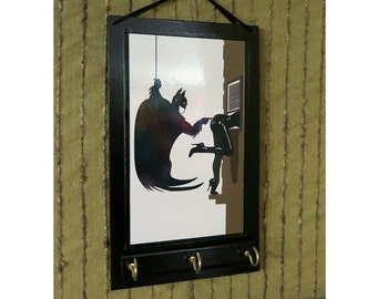 Wall Key Holders Batman Ear Phone Storage Rack, Jewellery Organizer, Comic Cartoon Key Hook Hanger, Housewarming Gift, Batman Wall Art