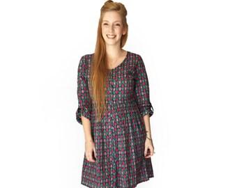Long Sleeve dress Boho dress Casual dress Flower dress pocket dress Blue dress Winter Above the knee dress button up dress Hipster dress