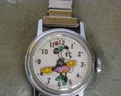 Vintage Minnie Mouse Wind Up Character Watch Original 1970s with Stretchy Metal Wrist Band Working Condition!