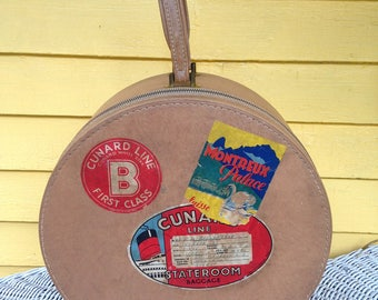 Vintage 1950s Round Suitcase with Original Travel Stickers from the Cunard White Star Line Montreal Liverpool Blondy Luggage