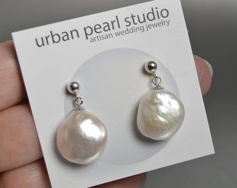 Baroque Pearl Earrings, Coin Pearl Earrings, Simple Pearl Bridal Jewelry, Pearl Drop Earrings, Pearl Post Earrings WPE228